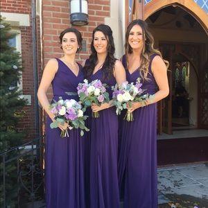 David's Bridal bridesmaid dress in plum